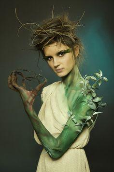Halloween Makeup Green Skinned Wood Nymph Woodland Fairy DIY Costumes