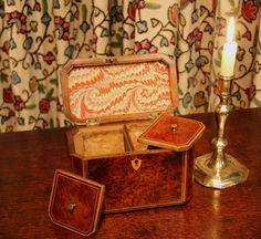 Antique Tea Caddy, Georgian Burr Yew Wood - Adams Antiques