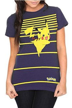 I bought this shirt with a Pikachu on it. 'reminds me of the days when I played Pokémon on the Game Boy Color. Nerd Fashion, Love Fashion, Scene Outfits, Cute Pikachu, Kinds Of Clothes, Cool Tees, Blue Stripes, Pop Culture, My Style