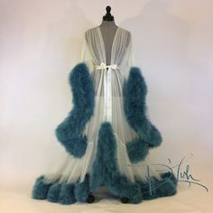"""Image of Ivory & Wedgwood Blue Deluxe """"Cassandra"""" Dressing Gown (Available Now) Bustiers, Fancy Robes, Vintage Nightgown, Vestidos Vintage, Vintage Lingerie, Lingerie Collection, Bodysuit, Night Gown, Dress To Impress"""