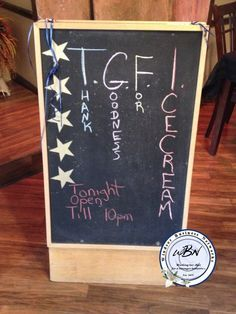 T.G.F.I. Thank Goodness For Ice-cream Chalkboard Signs, Art Quotes, Ice Cream, Creative, No Churn Ice Cream, Ice