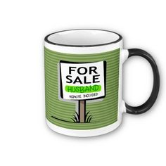 Husband for Sale Coffee Mug.  11 oz. or 15 oz Ringer Mug. Available in 10 colors. Dishwasher and microwave safe.