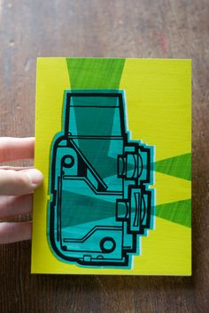 Twin Lens Reflex Camera Diagram - Illustrated Greeting Card - CELERY. $4.00, via Etsy.