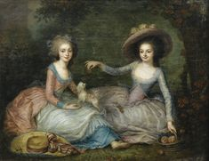 Portrait of two women, traditionally identified as Marie-Antoinette and the princesse de Lamballe, ca. 1770, French school