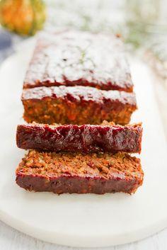 Lentil Loaf with a Maple Glaze -- This festive lentil loaf is packed ...