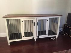 Tired of an ugly metal dog kennel taking up space? Our Dog Kennel is a functional piece of furniture. Metal Dog Kennel, Diy Dog Kennel, Kennel Ideas, Indoor Dog Kennels, Pet Kennels, Bunny Cages, Dog Cages, Large Dog Crate, Large Dogs