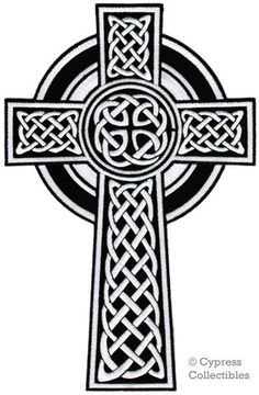 Large CELTIC CROSS PATCH iron-on embroidered Irish white crucifix religious Ireland emblem