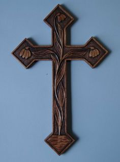 New design one of a kind hand carved cross by HOLIWOOD on Etsy, $85.00