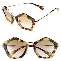 Miu Miu Geometric Sunglasses ($370) ❤ liked on Polyvore
