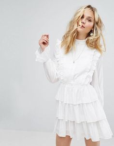 Moon River Tiered Pleat Dress at ASOS. Grad Dresses, Cute Dresses, Beautiful Dresses, Short Dresses, Summer Dresses, Robes De Confirmation, Asos, Looks Style, Skirt Outfits