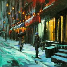 """This painting desperately wants to be in my house... Chin h Shin; Painting, """"Magical Night in New York"""""""
