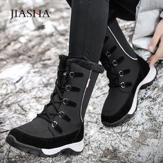 Soft Women Snow Boots Round Toe Winter Flat Heel Cotton Boots Casual Shoes MA