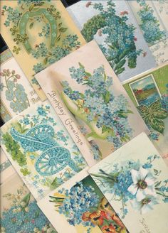 Nice Lot of ~20 VICTORIAN FORGET-ME-NOTS blue~ FLOWERS greetings Postcards-a674 #greetings