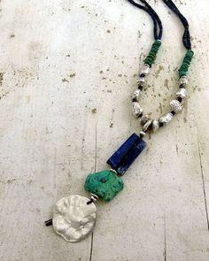 desert goddess cairn; fine silver, lapis lazuli, chrysocolla, chinese turquoise, roman glass; kathy van kleeck