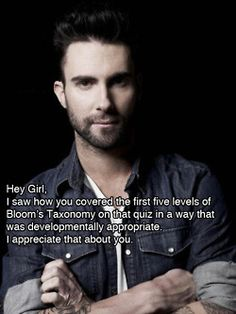 hey girl!  I saw you covered the first five levels of Bloom's Taxonomy on that quiz in a way that was developmentally appropriate.  I appreciate that about you.