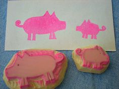 mama pig and baby rubber stamps, handmade rubber stamps, hand carved pig stamps. $9.00, via Etsy.