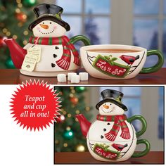 Holiday Snowman Tea For One Set Great Gift Idea! Holiday Snowman Tea For One Set,will make a great gift for the Snowman collector on your Christmas list! This smiling snowman will join you for tea all season long! Charming set combines a teapot & cup into one space-saving, grin-inspiring design. When not in use, it makes a fun and festive decoration on your countertop or shelf. Hand wash. http://kittykatkoutique.com/holiday-snowman-tea-for-one-set-gre