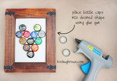 ROCKET SHIP!!    DIY Bottle Cap Magnetic Board with livelaughrowe.com