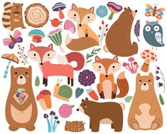 Woodland Animals and Floral Designs Clipart - Set of 38 Vector & PNG Files…