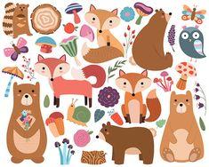 L'ensemble des 38 Vector & PNG animaux des bois et motifs