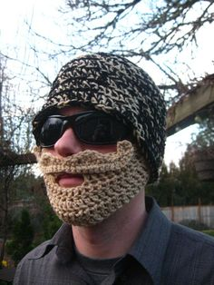 Black and Blonde Mustache Bearded Beanie