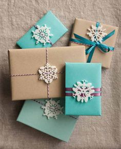 mini snowflake ornaments by peppersprouts, mini package toppers for the holiday and christmas season, animal snowflakes, cat bunny whale and bird