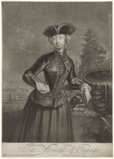 Anne, Princess of Orange  by John Simon, after Philip Mercier  mezzotint, mid 18th century