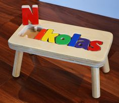 Step stool + #puzzle, the Puzzle Step Stool is an oh-so-cute way to personalize with your child's name! // MyStepStool.com- #Monogram #KidsDecor