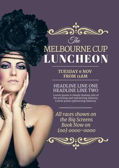 Click here to edit this Melbourne Cup / Spring Racing design template in Easil.  Resize to poster, social media or any graphic size you need!  www.easil.com