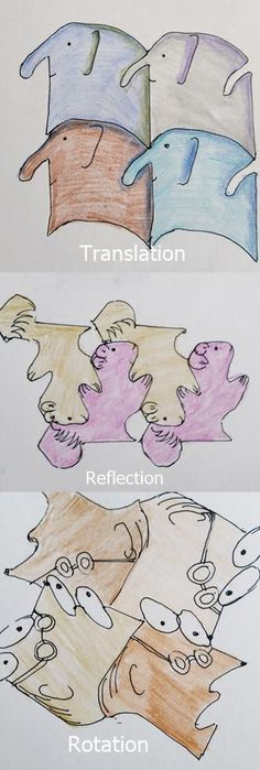 Tessellation patterns for kids - rotation, translation and reflection. Tessellation lessons