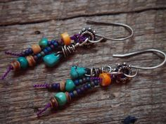 Glass and Turquoise Earrings by YuccaBloom on Etsy
