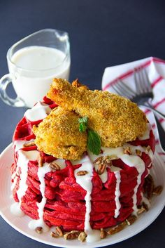 Oven Fried Chicken and Red Velvet Waffles | Community Post: 15 Next-Level Ways To Eat Chicken And Waffles                                                                                                                                                                                 More