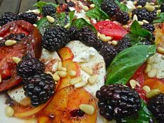 Summer Staples : Peach + Blackberry Heirloom Tomato Caprese Salad with Blackberry Infused Balsamic Vinegar, Toasted Pine Nuts, & Crumbled Go...