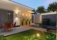 36 Admirable Modern Patio Design Ideas For Your Backyard - Setting up your patio furniture is not enough it would be nice if you embellish it with outdoor accents and accessories for a stylish and fabulous loo. Terraced Landscaping, Outdoor Landscaping, Landscaping Ideas, Outdoor Gardens, Outdoor Decor, Modern Patio Design, Terrace Design, Backyard Patio Designs, Backyard Seating