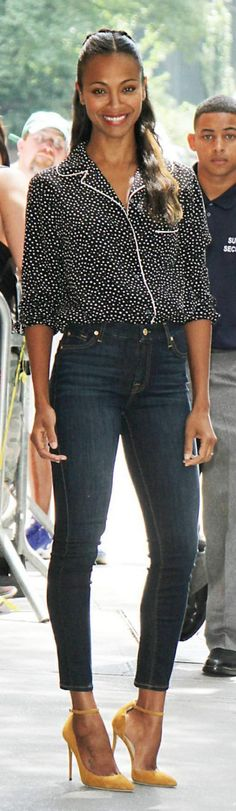 Zoe Saldana: Shirt – Dolce & Gabbana  Shoes – Jimmy Choo