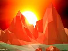 Low-Poly Landscape N3 - Canyon by OpenGoo.deviantart.com on @deviantART