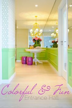 Bright green entryway! I love bright colors used in homes. It really makes a house a home.