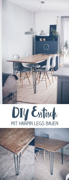 Make yourself a DIY dining table with Hairpin Legs - build your own furniture - DIY idea- DIY Esstisch mit Hairpin Legs selbermachen – Möbel selber bauen – DIY Idee DIY Dining Table with Hairpin Legs DIY – DIY Furniture … - Furniture Legs, Table Furniture, Kitchen Furniture, Rustic Furniture, Furniture Movers, Furniture Layout, Furniture Companies, Furniture Stores, Industrial Furniture