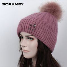 New Faux Raccoon Fur Pompon Hat Thick Winter for Women Cap Beanie Hats Knitted Faux Cashmere Wool Caps Female Skullies Beanies Beanie Hats, Fur Hats, Beanies, Winter Hats, Fall Winter, Autumn, Plus Clothing, Cashmere Wool, Caps For Women