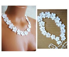 Crochet lace flower necklace for wedding by emofoFashionDesing, $19.00