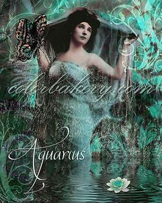 Aquarius, Art Nouveau Zodiac Series | by hannahblu59