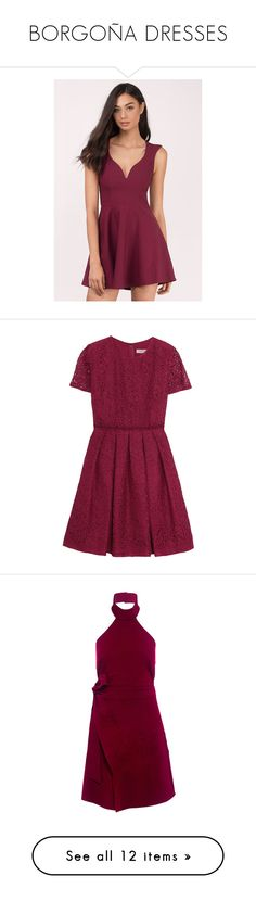 """""""BORGOÑA DRESSES"""" by malvinacabj on Polyvore featuring dresses, wine, deep v-neck dress, wine dress, skater dress, purple skater dress, purple dress, burberry, claret y purple lace cocktail dress"""