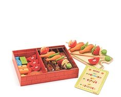 """Djeco Lucien and Peggy Barbeque Role Play i love interesting food sets to make a kitchen playset more engaging/exciting i think this is suited for kids a bit younger as well putting the small holes thru the """"skewer"""" will help develop dexterity"""