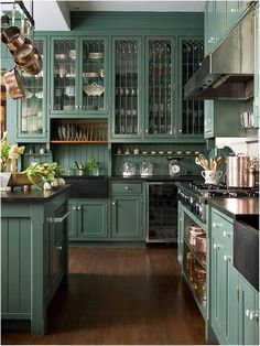 Home Remodel Fixer Upper Home Design Ideas: Home Decorating Ideas Farmhouse Home Decorating Ideas Farmhouse Cool Awesome Rustic Farmhouse Kitchen Cabinets Decor Ideas Of Your Dreams ca. Dark Green Kitchen, Green Kitchen Cabinets, Farmhouse Kitchen Cabinets, Kitchen Colors, Dark Cabinets, Rustic Cabinets, Kitchen Cabinetry, Kitchen Paint, Glass Cabinets
