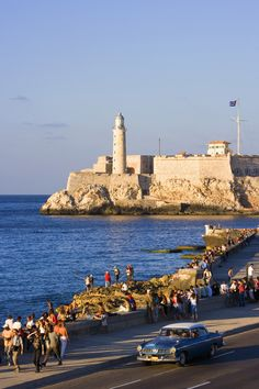 Beautiful view of El Morro (which is a fortress in the middle of the water). This is also Habana, Cuba.