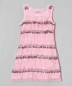 Look at this #zulilyfind! Pink & Leopard Ruffle Dress - Girls by Lipstik Girls #zulilyfinds
