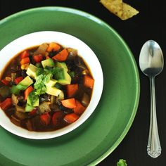 Spicy Black Bean Soup is the perfect vegan soup to add some heat to a cold day. It is packed with veggies and warming Mexican spices and flavours.