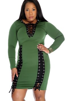Sexy Olive Lace Up Front Long Sleeve Plus Size Bodycon Party Dress 4e9a42928