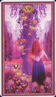 Seven of Cups Tarot Card - Gendron Tarot Deck Flower Meanings, Color Meanings, Seven Of Cups, Native American Wisdom, Dreams And Visions, Tarot Card Meanings, Cartomancy, Hero's Journey, Creative Visualization