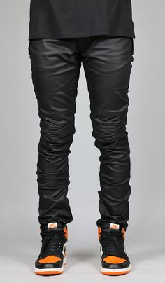 1cfe5eb122d Wax Coated Black Biker Denim. See more. Fit   SLIM Tapered Leg If you are  looking for a looser fit we suggest one